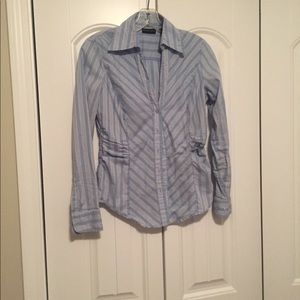Professional V-neck blue striped blouse